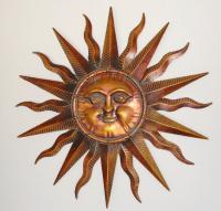 Copper Patina Sun Face Extra Large Sunburst Metal Wall Art ...