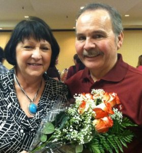 Linda with her late husband, Charlie, at the awards luncheon.