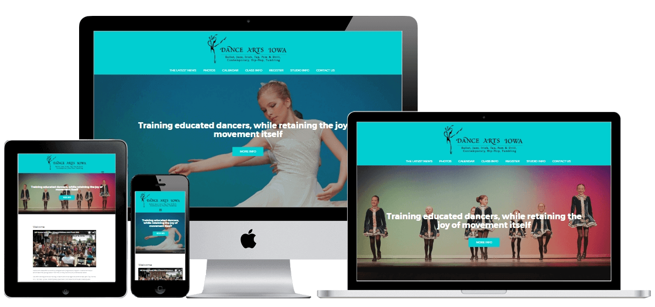 various device mockups showing the Dance Arts Iowa website