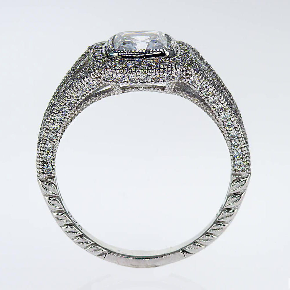 art deco cushion diamond engagement ring (semi mount) - market