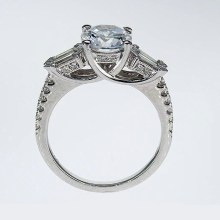 Unique Baguette Diamond Accented Engagement Ring