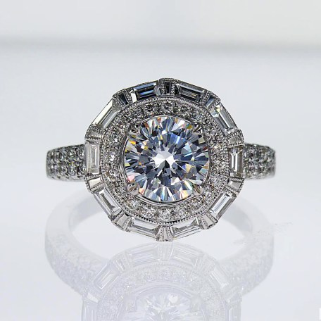 Unique Baguette Halo Diamond Engagement Ring