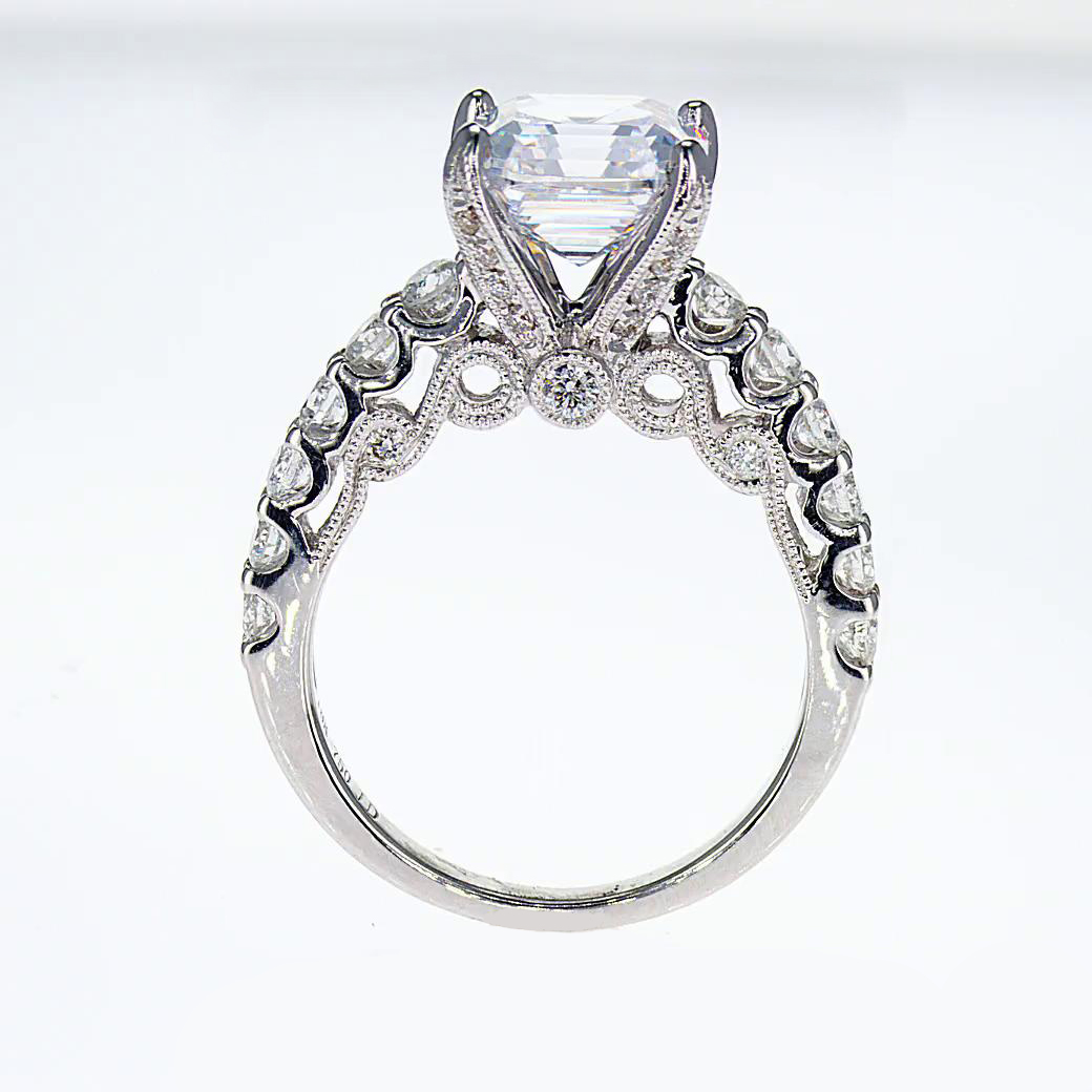 asscher cut ring engagement zaltas diamond platinum product halo rings