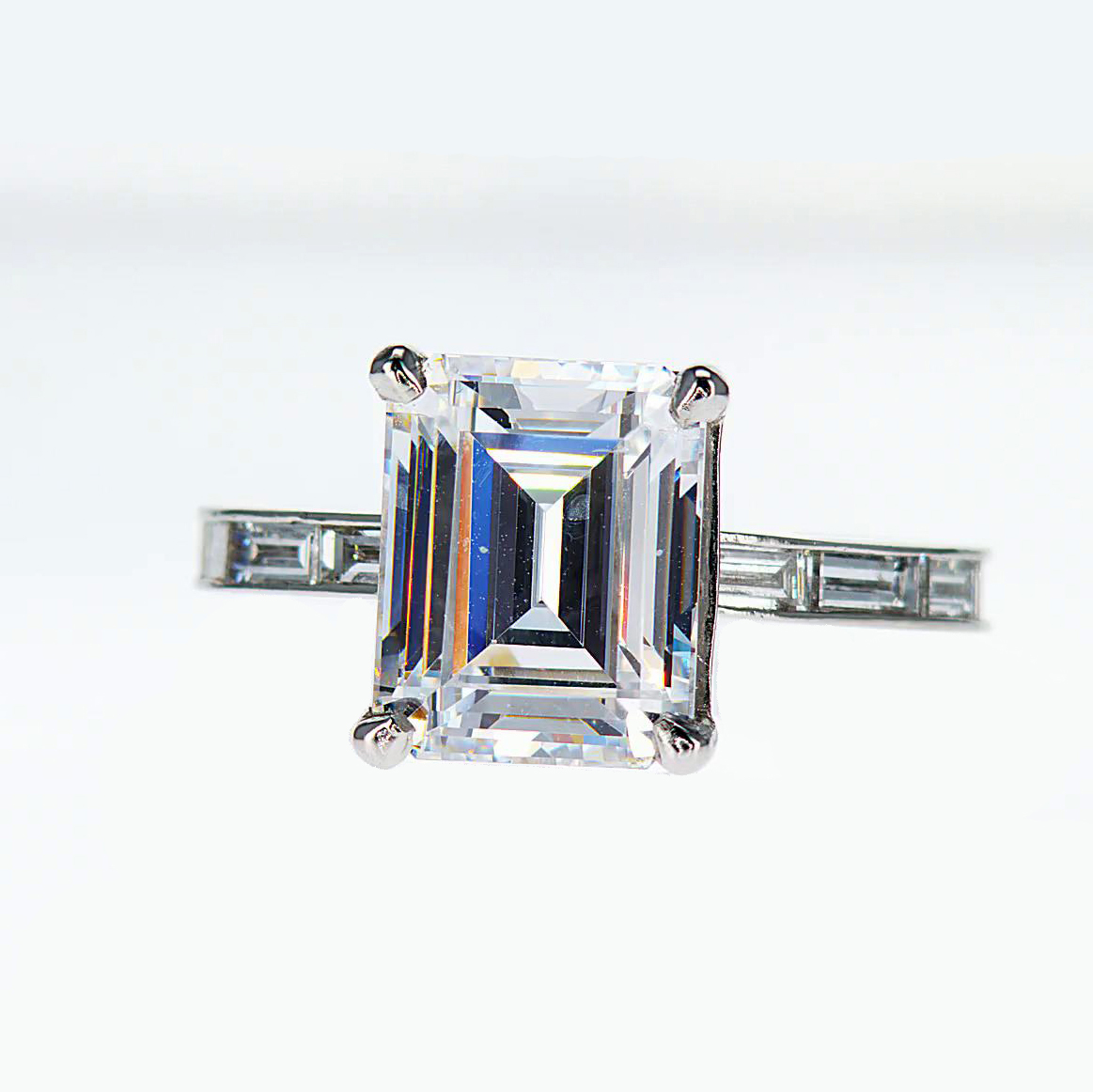 engagement accents cut on blue art with diamond ring rings style deco emerald products hand vintage sapphire of accented