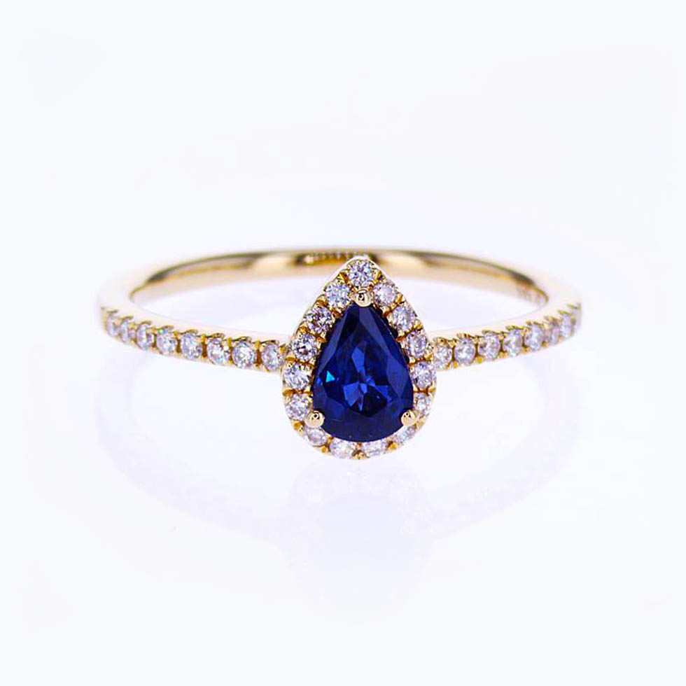 shaped blue sapphire beckers ring classic jewelers engagement pear platinum in