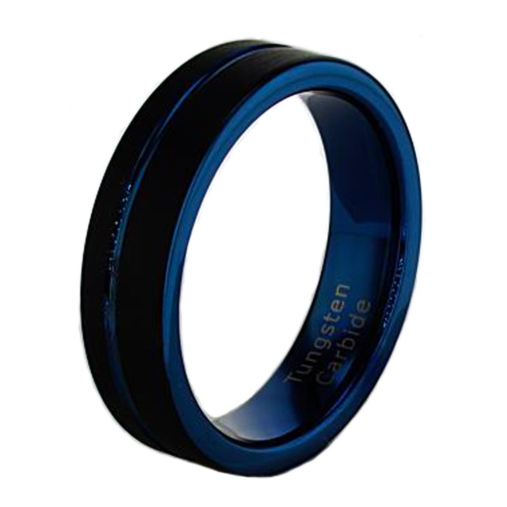 Black And Dark Blue Tungsten Wedding Band 6mm Market Street Diamonds