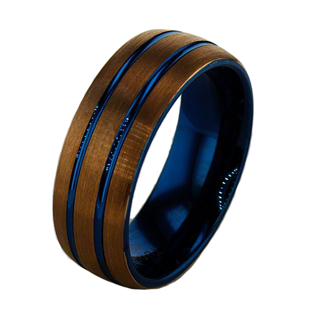 Blue Double Stripe Tungsten Mens Wedding Band 8mm Market Street