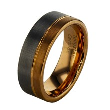 Tungsten Gold and Silver Plated Men's Ring