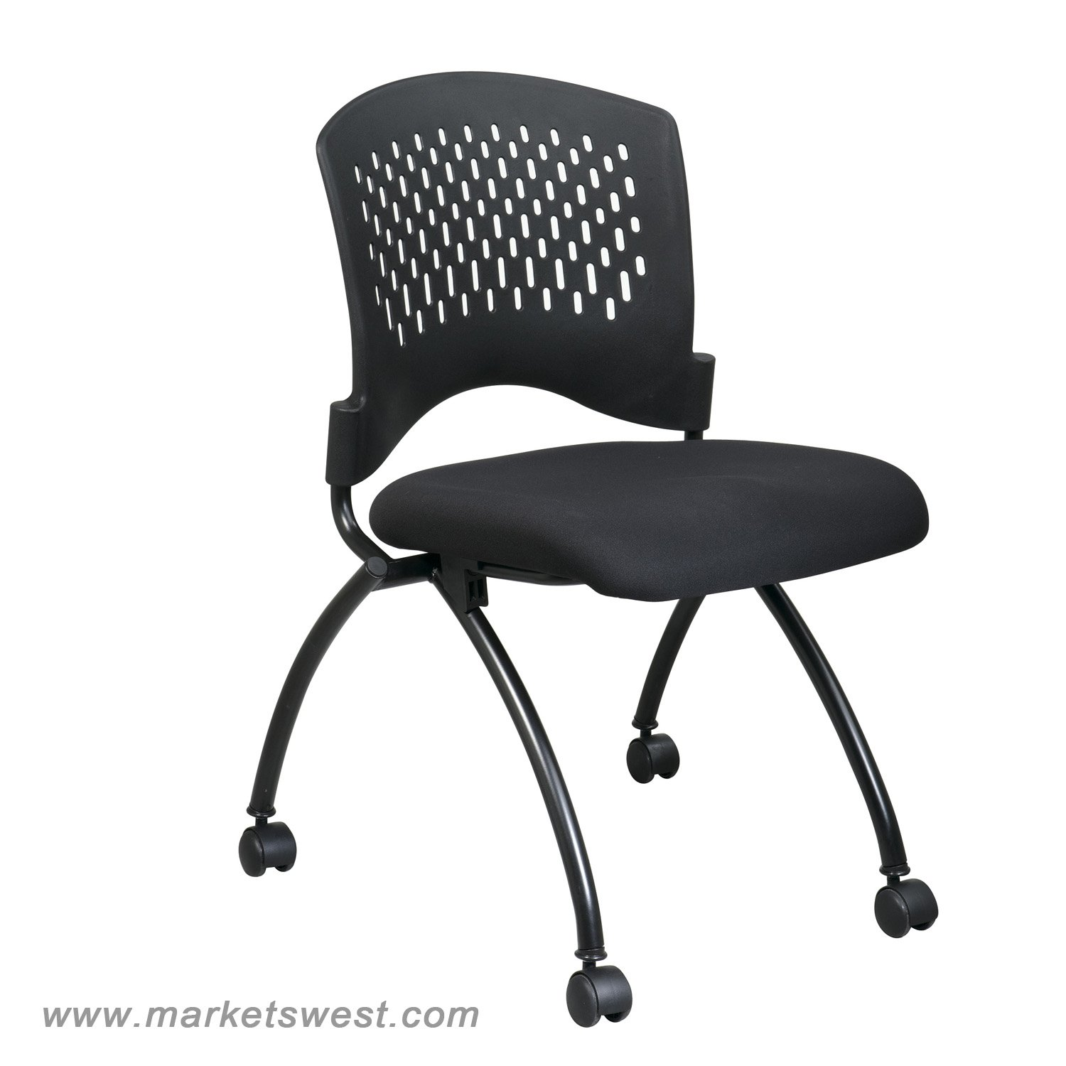Office Chairs No Arms Deluxe Folding Chair With Ventilated Back No Arms