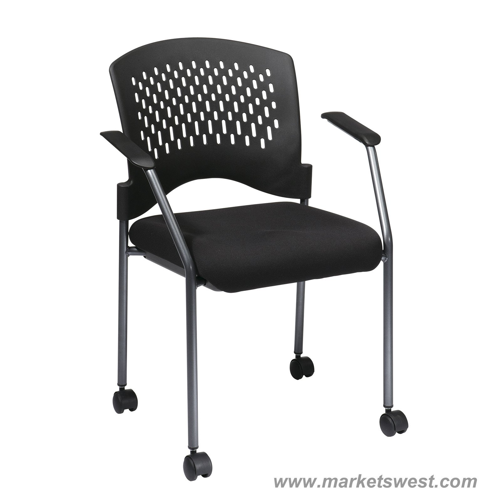 Chair With Casters Pro Line Ii Titanium Finish Rolling Black Visitors Chair