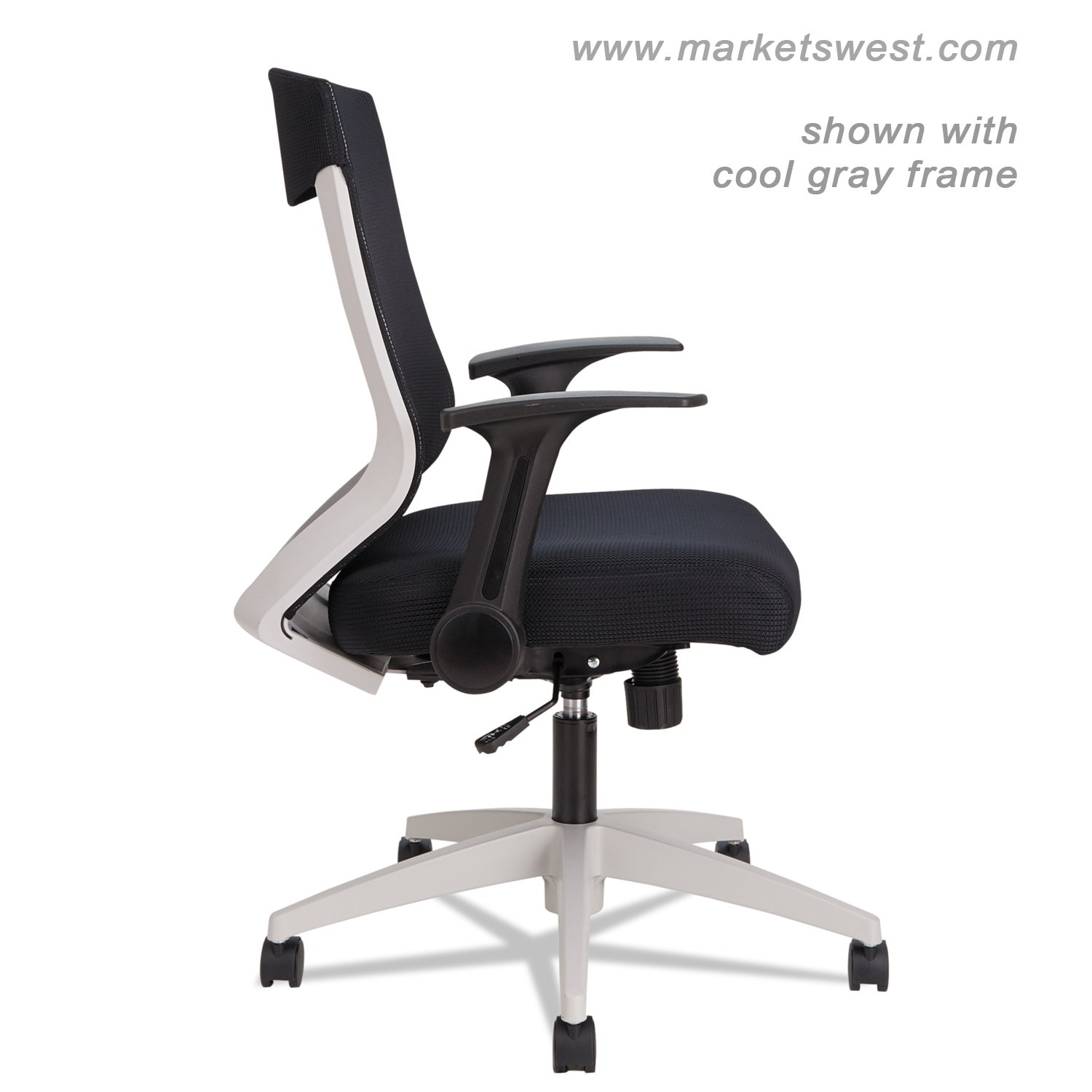 Alera Office Chairs Alera Eb K Series Synchro Mid Back Flip Arm Mesh Chair Black Cool Gray Frame