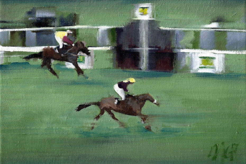 An art print depicting Red Rum winning the 1973 Grand National horse race