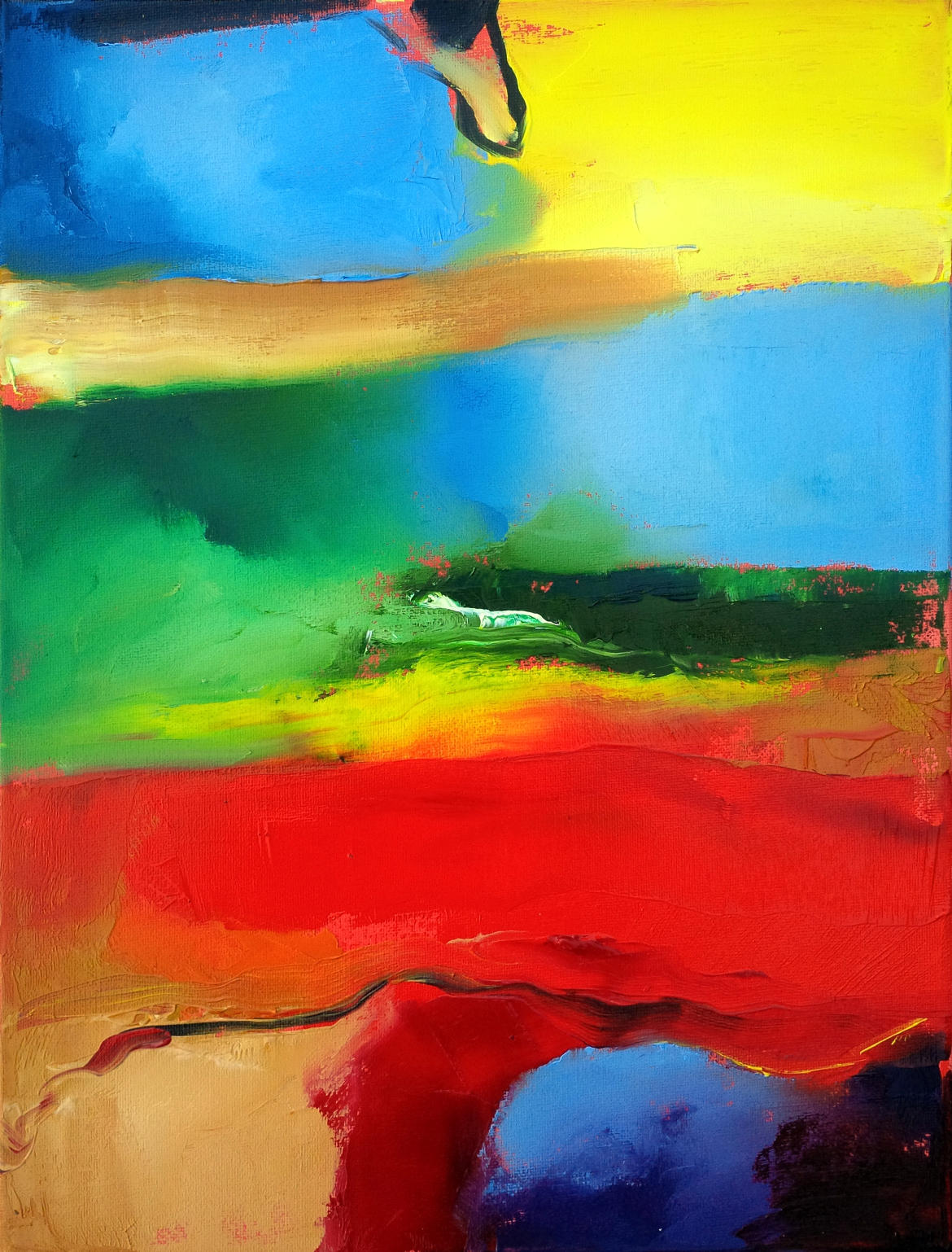 Abstract art painting titled 'Red River' by Mark Gisbourne
