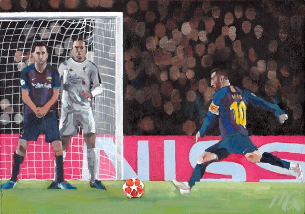 Lionel Messi Free Kick vs. Liverpool Acrylic Painting by Mark Gisbourne