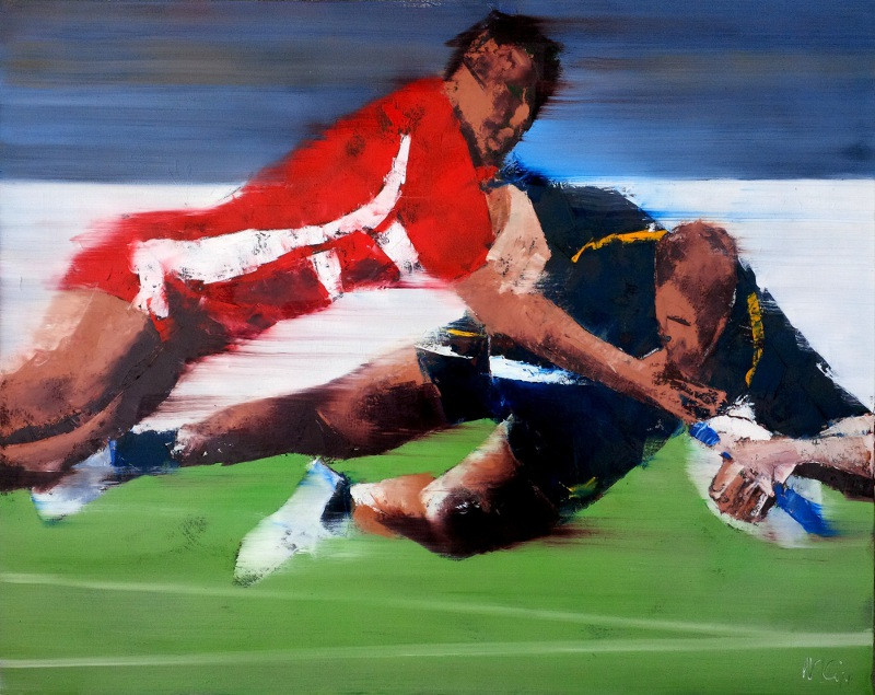 An oil painting on canvas titled 'Try (Worcester Warriors)' by Mark Gisbourne