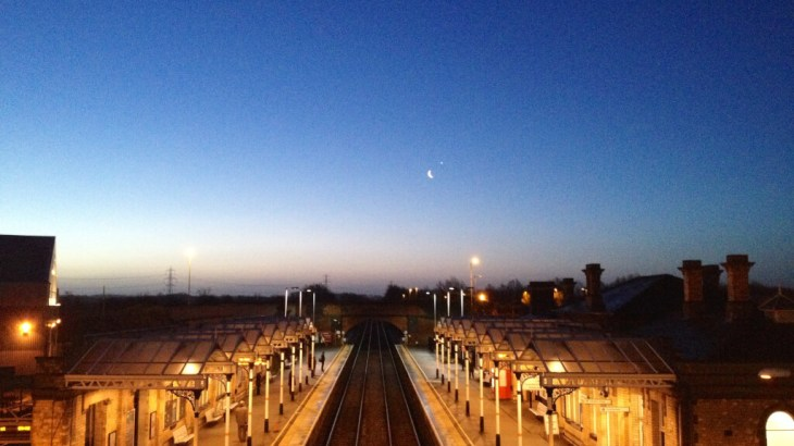 The moon over Loughborough station