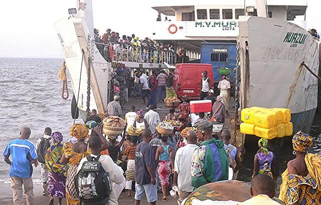 A ferry in Freetown, Sierra Leone