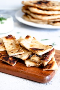 a close up picture of slices of gyro pita bread