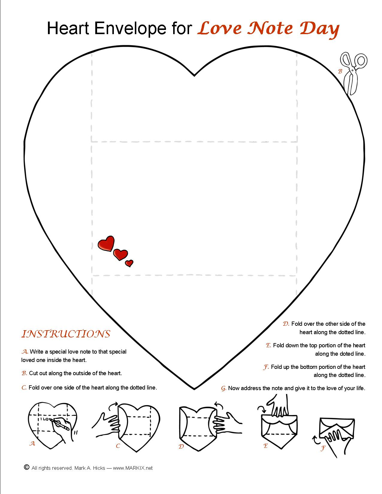 Heart Note And Envelope For Love Note Day Or Anytime