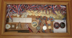 Display table of mark jefferies - medals - aerobatic champion