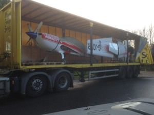 GJOKR loaded on a lorry