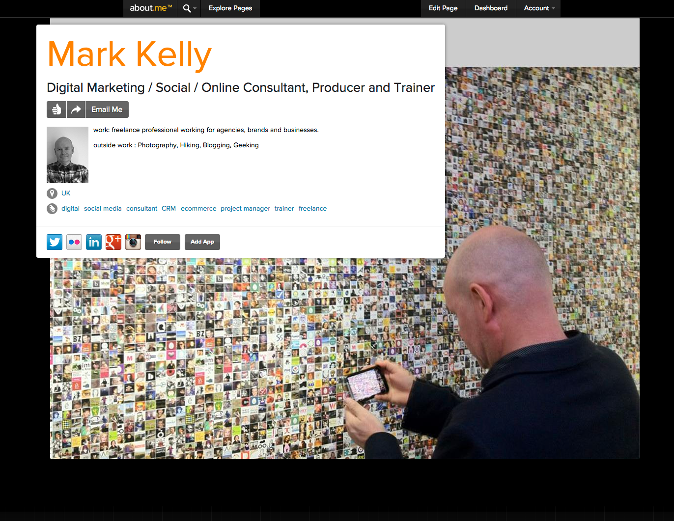 Mark Kelly digital about.me page
