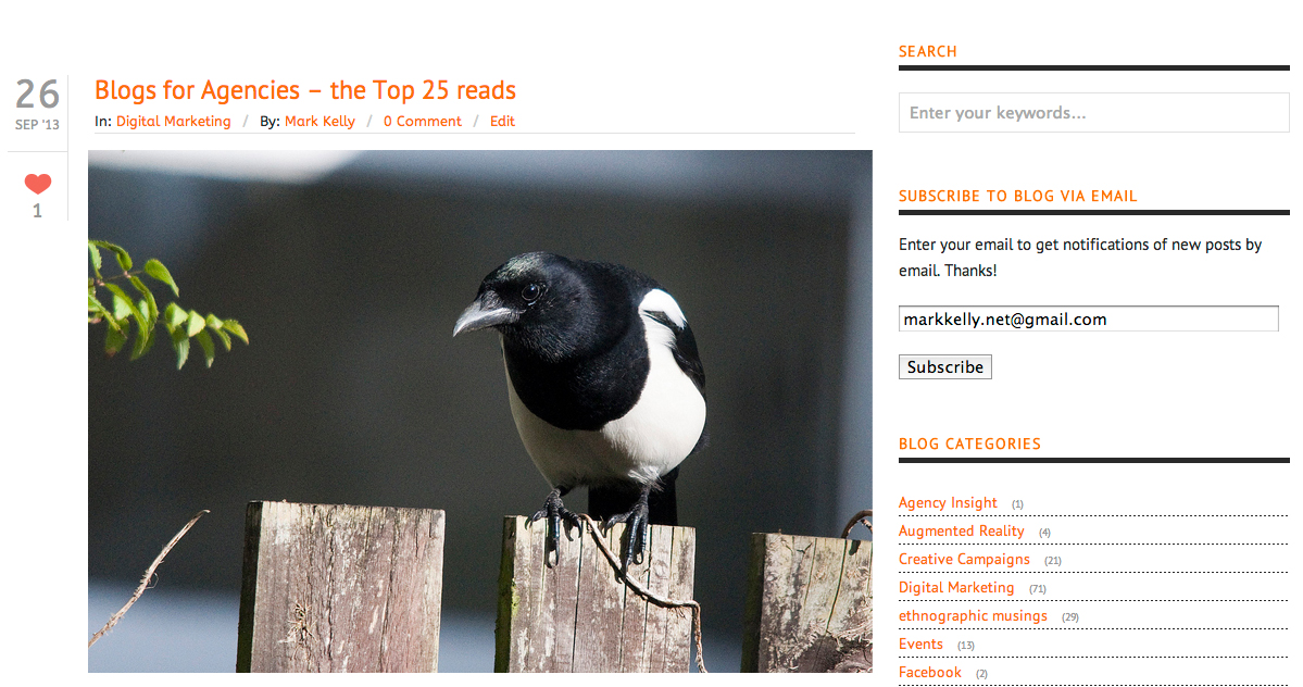 Blogs for Agencies - the Top 25 reads - Mark Kelly Consultancy