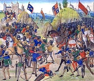 Battle of Crécy between the English and French...