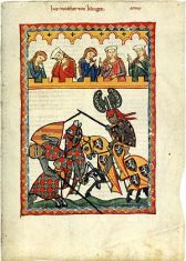 Depiction of a late 13th century joust in the ...