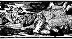 1722 German woodcut of a werewolf transforming