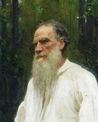 Lev Nikolayevich Tolstoy shoeless. Oil on canv...