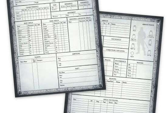 Warhammer Fantasy Role Play (WFRP) 4e Character sheets
