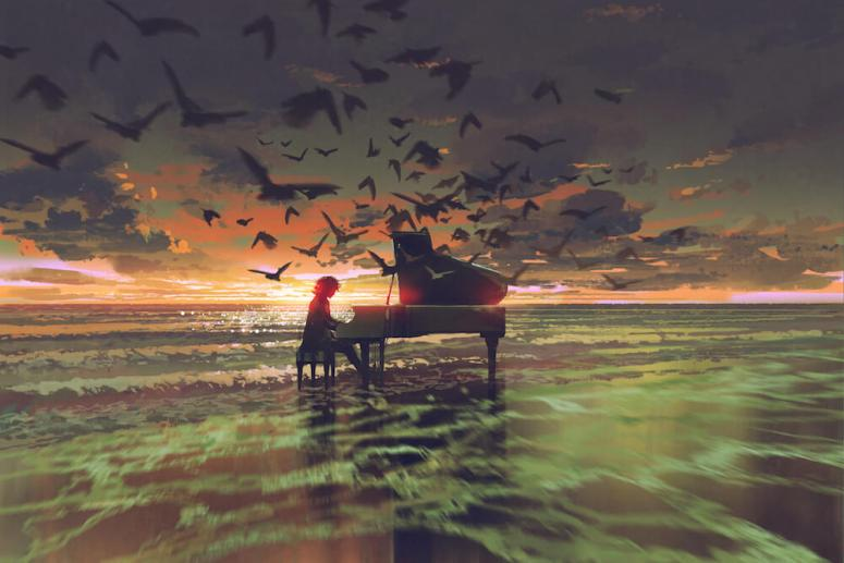 How to grow from your pain - man playing piano on the ocean