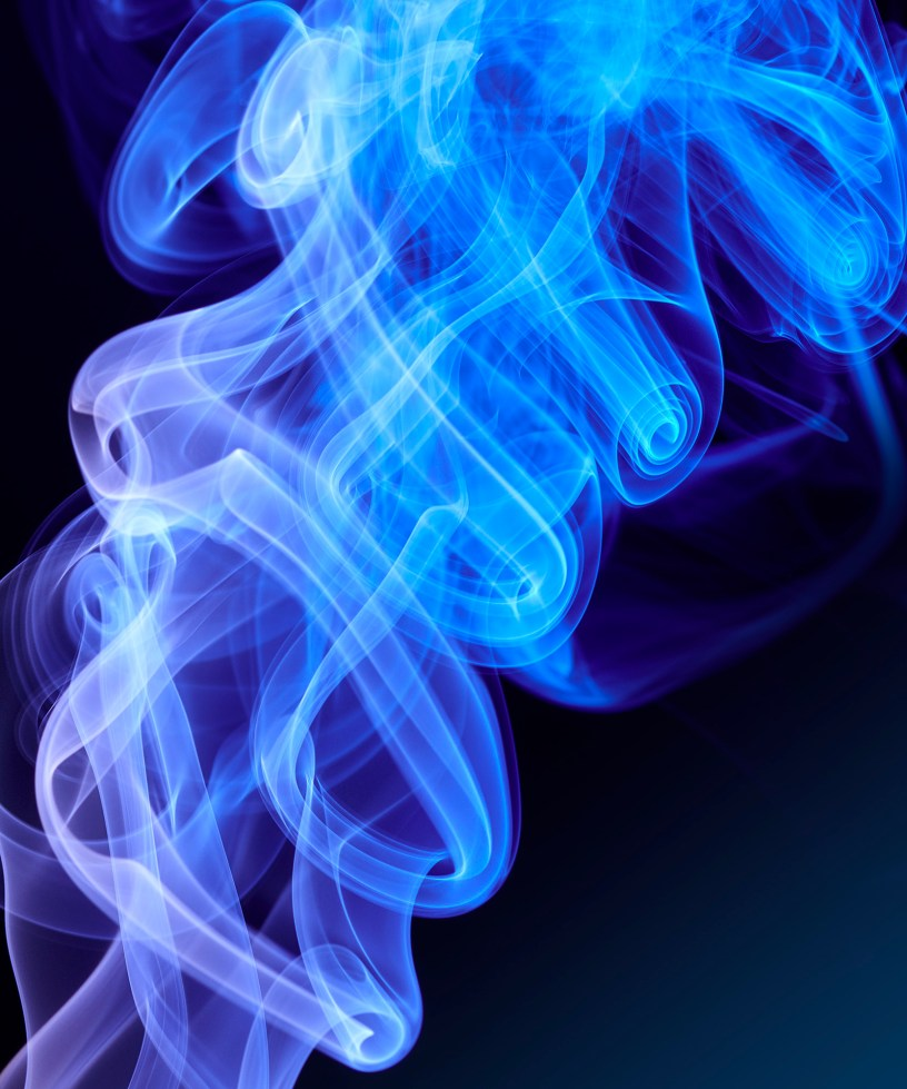 blue smoke close up by London photographer, Mark Mawson