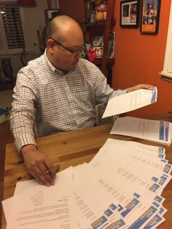 Family letter stuffing party - March 2018