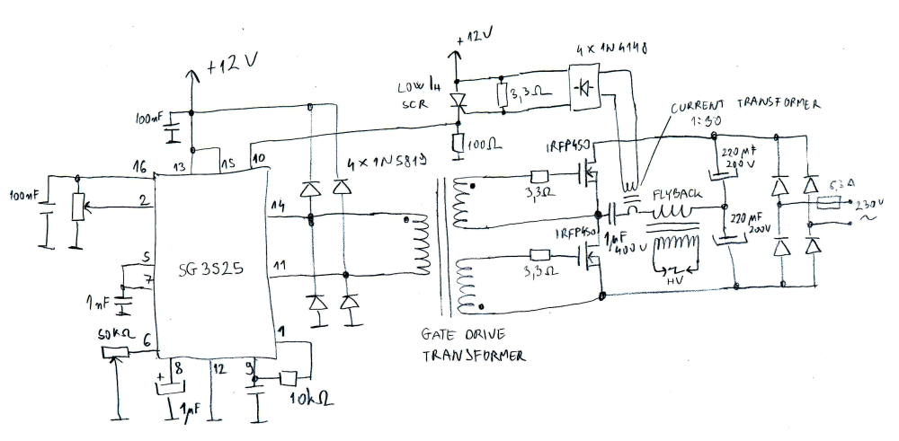 medium resolution of basic sg3525 flyback driver schematic