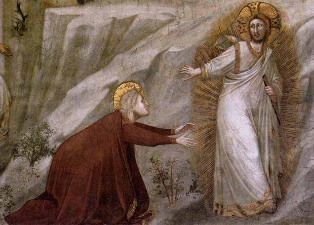 """Giotto di Bondone """"Scenes from the Life of Mary Magdalene"""" 1320s """"Noli me Tangere"""" (detail)."""