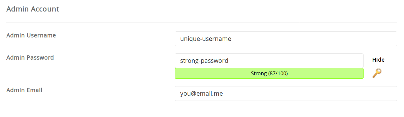 Choose your admin username and password