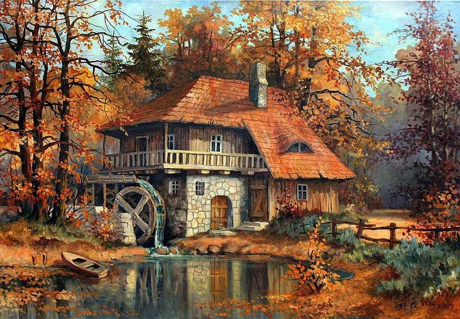 American Paint And Wallpaper Fall River Beautiful Autumn By Stanislaw Wilk Art Blog Markovart