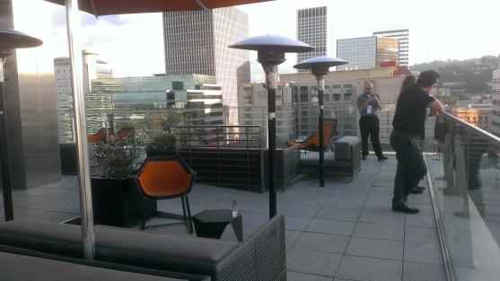 Outdoor patio bar at The Nines.