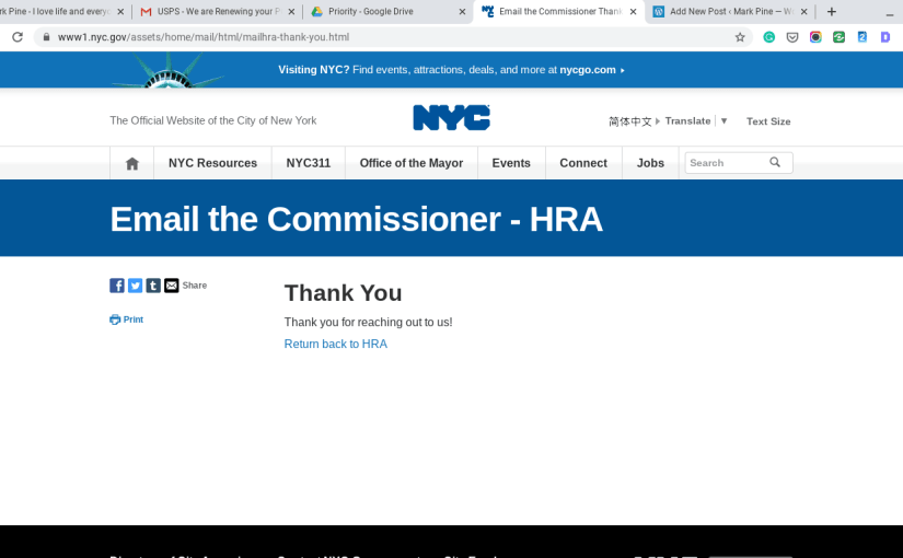 Email to The New York City Human Resources Administration/Department of Social Services (HRA/DSS).
