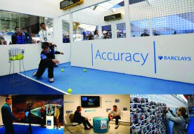 O2 Barclays ATP Exhibition Stand design - active, photoshoot, interview areas and photo wall