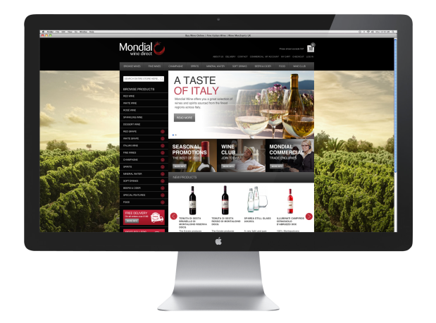Mondial Wines Direct Website design on imac