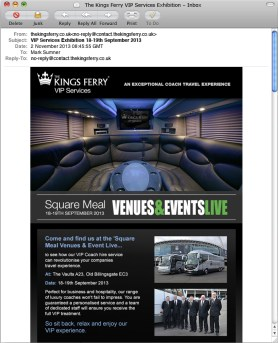 The Kings Ferry VIP Services Exhibition Promotional Emailer design