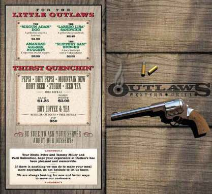 """Outlaws Western Grill"" Menu"