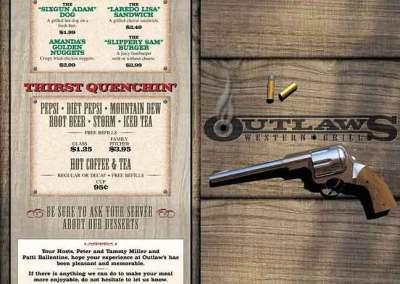 """Outlaws Western Grill"" Menu"