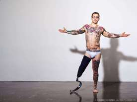 Underwear model and wounded Marine vet Minsky embraces the gaze