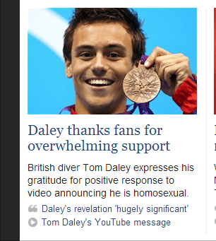 Daily Telegraph 'Daley announces he is homosexual'