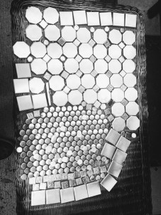 A bunch of tiles before separation and preparation.