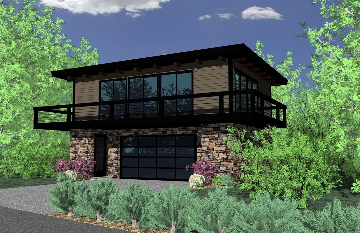 Modern Two Story Small House Plan with Garage | Pearl Loft